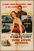 "Movie Posters:Adventure, Fire Over Africa (Columbia, 1954). One Sheet (27"" X 41"") &Lobby Card Set of 8 (11"" X 14""). Adventure.. ... (Total: 9 Items)"