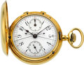 Timepieces:Pocket (pre 1900) , Agassiz Massive 18k Gold Split Second Chronograph With Register,circa 1895. ...