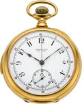 Timepieces:Pocket (post 1900), Tiffany & Co. Very Fine Gold Five Minute Repeater WithChronograph, circa 1900. ...