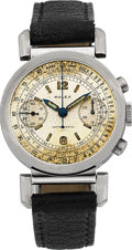 Timepieces:Wristwatch, Rolex Ref. 2920 Rare Stainless Steel Antimagnetic Chronograph Circa 1937 With Flexible Lugs. ...