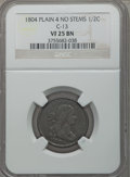 1804 1/2 C Plain 4, No Stems, C-13, B-10, R.1, VF25 NGC. NGC Census: (6/153). PCGS Population (3/21). Mintage: 1,055,312...