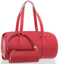 """Louis Vuitton Red Epi Leather Papillon 30 Bag with Pochette Very Good to Excellent Condition 12"""""""