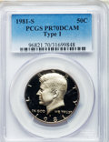 Proof Kennedy Half Dollars: , 1981-S 50C Type One PR70 Deep Cameo PCGS. PCGS Population (306).NGC Census: (83). Numismedia Wsl. Price for problem free ...
