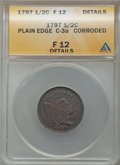 1797 1/2 C Plain Edge, Low Head, C-3a, B-3c, R.3, -- Corroded -- ANACS. Fine 12 Details. NGC Census: (2/1). PCGS Popula...