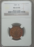 Two Cent Pieces: , 1869 2C MS64 Red and Brown NGC. NGC Census: (68/73). PCGS Population (118/57). Mintage: 1,546,500. Numismedia Wsl. Price fo...