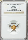 California Fractional Gold : , 1874 25C Indian Round 25 Cents, BG-875, High R.4, MS64 ProoflikeNGC. NGC Census: (6/6). ...