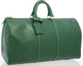 "Luxury Accessories:Travel/Trunks, Louis Vuitton Green Epi Leather Keepall 50 Weekender Bag . Goodto Very Good Condition . 22"" Width x 12"" Height x 10""..."