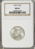 Washington Quarters, 1932-S 25C MS62 NGC....