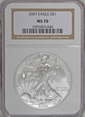 2007 $1 Silver Eagle MS70 NGC. NGC Census: (0/0). PCGS Population (0/0). (#9997)...(PCGS# 9997)