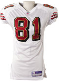 Football Collectibles:Uniforms, 2003 Terrell Owens Game Worn Jersey. Road white San Francisco 49'ers jersey saw action upon the sculpted torso of one of th...