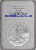 2007 $1 Silver Eagle Early Releases MS70 NGC. NGC Census: (0/0). PCGS Population (0/0). (#9997)...(PCGS# 9997)
