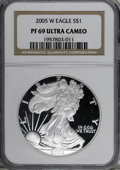 2005-W $1 Silver Eagle PR69 Deep Cameo NGC. NGC Census: (0/0). PCGS Population (4741/451). Numismedia Wsl. Price for NGC...