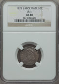 Bust Dimes, 1821 10C Large Date, JR-1, R.2, XF40 NGC. NGC Census: (1/3). PCGSPopulation (0/1). Mintage: 1,186,512. ...