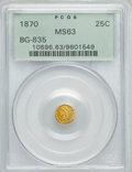 California Fractional Gold : , 1870 25C Liberty Round 25 Cents, BG-835, R.3, MS63 PCGS. PCGSPopulation (22/8). NGC Census: (0/2). ...