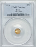 California Fractional Gold , 1876 25C Indian Octagonal 25 Cents, BG-799C, High R.4, -- Bent --PCGS Genuine. The PCGS number ending in .98 suggests Dama...