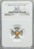 California Fractional Gold: , 1856 25C Liberty Round 25 Cents, BG-230, Low R.4, MS63 NGC. NGCCensus: (5/8). PCGS Population (47/26). ...