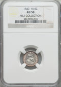 Seated Half Dimes: , 1842 H10C AU58 NGC. Ex: Hilt Collection. NGC Census: (29/124). PCGS Population (17/108). Mintage: 815,000. Numismedia Wsl. ...