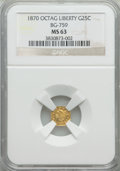 California Fractional Gold: , 1870 25C Liberty Octagonal 25 Cents, BG-759, R.4, MS63 NGC. NGCCensus: (5/1). PCGS Population (24/12). ...