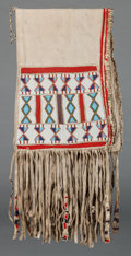 American Indian Art:Beadwork and Quillwork, A Nez Perce or Blackfoot Beaded Hide Double Saddle Bag. c. 1890...