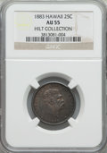 Coins of Hawaii: , 1883 25C Hawaii Quarter AU55 NGC. Ex: Hilt Collection. NGC Census:(68/1035). PCGS Population (124/1324). Mintage: 500,000....