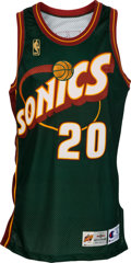 Basketball Collectibles:Uniforms, 1996-97 Gary Payton Game Worn, Signed Seattle Supersonics Jersey....