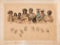 Western Expansion:Indian Artifacts, Early Framed Print of Ojibwa Indians after George Catlin....