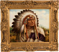 Art, Fine Oil on Canvas Portrait of a Plains Chief by Troy Denton....