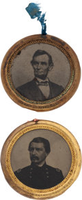 Political:Ferrotypes / Photo Badges (pre-1896), Lincoln and McClellan: Stunning Pair of the Largest-size 1864Ferrotypes....