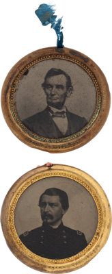 Lincoln and McClellan: Stunning Pair of the Largest-size 1864 Ferrotypes
