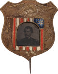 Political:Ferrotypes / Photo Badges (pre-1896), George McClellan: Outstanding Ferrotype Shield Badge....