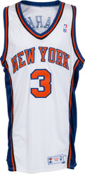 Basketball Collectibles:Uniforms, 1997-98 John Starks Game Worn, Signed New York Knicks Jersey....