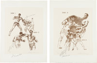 1971 Ali vs. Frazier Full Suite of Fifteen Etchings by LeRoy Neiman--Each Signed by Both Boxers and the Artist