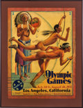 Miscellaneous Collectibles:General, 1932 Santa Fe Railroad Poster Advertising the Los AngelesOlympics....