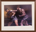 Boxing Collectibles:Autographs, 1973 Joe Louis & Max Schmeling Signed Sports Illustrated Poster....