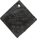 Antiques:Black Americana, 1851 Charleston SERVANT Slave Hire Badge, Number 703....
