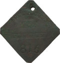 Antiques:Black Americana, 1851 Charleston PORTER Slave Hire Badge, Number 815. ...