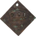 Antiques:Black Americana, 1855 Charleston PORTER Slave Hire Badge, NGC Certified Genuine,Number 911. ...