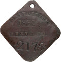 Antiques:Black Americana, 1860 Charleston SERVANT Slave Hire Badge, Number 2175....