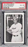 Baseball Cards:Singles (1940-1949), 1947 Bond Bread Jackie Robinson/Awaiting Pitch PSA EX-MT 6 - PopTwo, One Higher. . ...