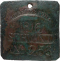 Antiques:Black Americana, 1816 Charleston SERVANT Slave Hire Badge, Number 256. ...