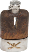 Golf Collectibles:Miscellaneous, 1930's Leather & Sterling Glass Golf Flask....