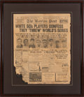Baseball Collectibles:Publications, 1920 Boston Post Newspaper Regarding 1919 Black Sox Confessions....