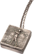 Golf Collectibles:Miscellaneous, Early 20th Century Silver Golf Pill Box & Chain with Golf Motif....