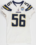 Football Collectibles:Uniforms, 2009 Shawne Merriman Game Worn, Unwashed San Diego Chargers Jersey - Worn 11/22 Vs. Broncos....