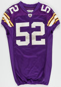 Football Collectibles:Uniforms, 2009 Chad Greenway Game Worn, Unwashed Minnesota Vikings Jersey - Worn 10/5 Vs. Green Bay....