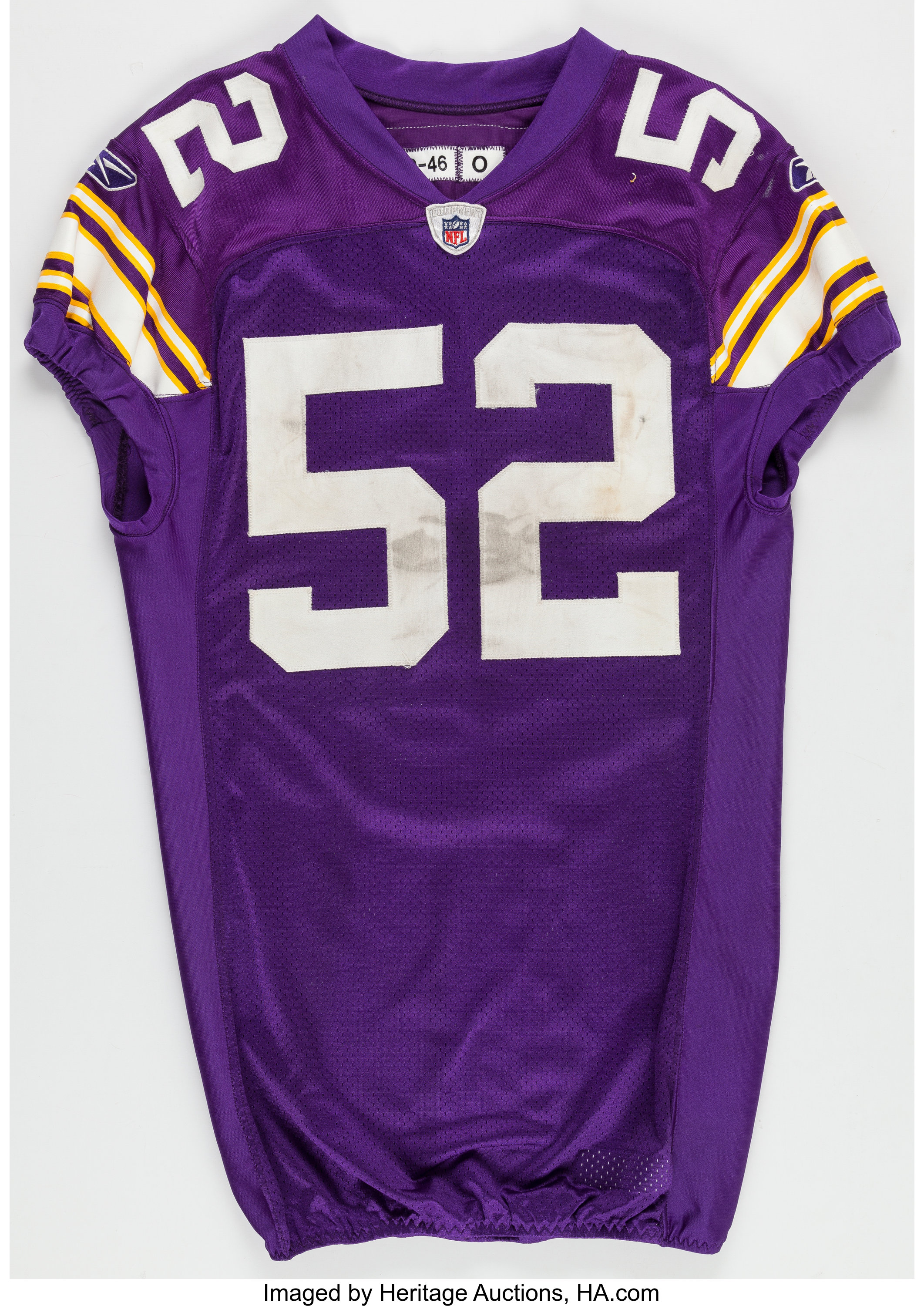 new concept 6cea9 8ade3 2009 Chad Greenway Game Worn, Unwashed Minnesota Vikings ...