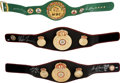 Boxing Collectibles:Autographs, Circa 2010 Collection of Three Signed WBC & WBA Belts - SugarRay Leonard, Roberto Duran & Mike Tyson. ...
