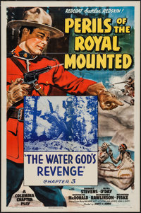 "Perils of the Royal Mounted (Columbia, 1942). One Sheet (27"" X 41"") Chapter 3 --""The Water God's Revenge..."