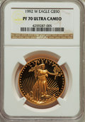 Modern Bullion Coins, 1992-W $50 One-Ounce Gold Eagle PR70 Ultra Cameo NGC. NGC Census: (647). PCGS Population (159). Numismedia Wsl. Price for ...