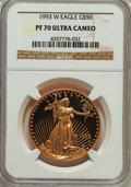 Modern Bullion Coins, 1993-W $50 One-Ounce Gold Eagle PR70 Ultra Cameo NGC. NGC Census: (433). PCGS Population (129). Numismedia Wsl. Price for ...